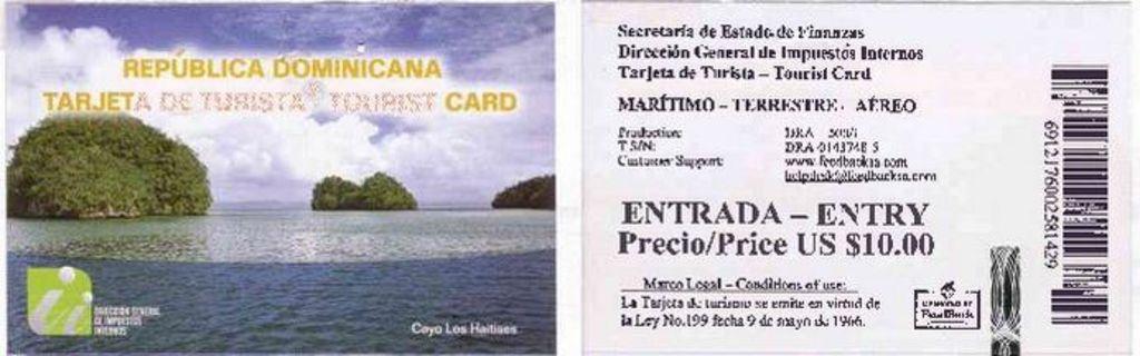 tarjeta de turismo Republica Dominicana